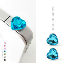 2pc Blue Rhinestone Heart Anti Dust Plug Earphone Jack Cover Ear Cap Stopper