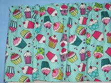 Pink Purple Yellow Blue Cupcakes on Turquoise 100% Cotton Window Valance Topper