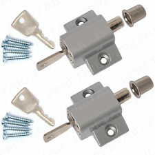 2x SILVER SLIDING PATIO DOOR PUSH LOCKS Window Locking Bolt Security Frame Catch
