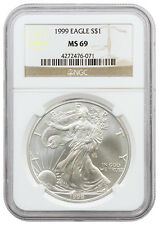 1999 - 1 Troy Oz American Silver Eagle $1 NGC MS69 Mint State 69 SKU16586