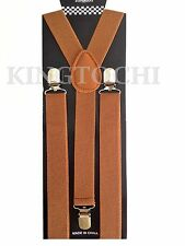 Mens Womens Brown Clip-on Suspenders Elastic Y-Shape Adjustable Braces