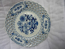 "Blue & White Pierced Plate W/Hanger By Hutschenreuther Of Germany Marked, ""1814"""
