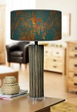 68cm Large Dark Bamboo Wood Table Lamp with Giclee Print Lampshade Rustic Teal