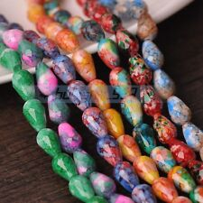 30pcs 12X8mm Teardrop Faceted Loose Glass Spacer Colorful Beads Random Mixed