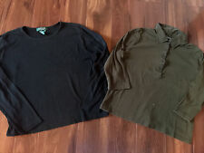 2 ladies LAUREN RALPH LAUREN SHIRTS LOT black olive COLLARED PETITE LARGE PL