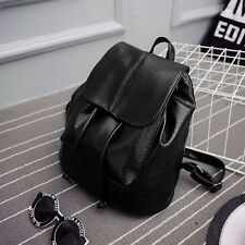Girl Leather School Bag Travel Backpack Satchel Women Shoulder Rucksack Black