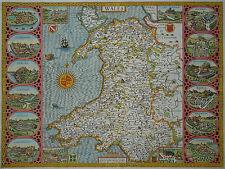 John Speed - Wales - Seltene, aufwendige Karte von Wales - Original von 1614