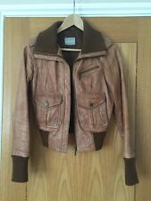 OASIS Size 8 100% LEATHER Retro Biker Jacket Excellent Condition