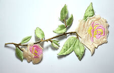 PINK ROSE STEM BUD TRIMMING Embroidered Sew Iron On Cloth Patch Badge APPLIQUE