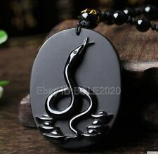 100% Natural Black Obsidian Carved Chinese Zodiac Snake Pendant + Beads Necklace
