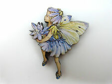FLOWER FAIRIES CHICORY FAIRY COLOURFUL WOODEN BROOCH PIN LILAC