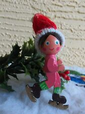 VINTAGE LARGE GIRL WITH ICE SKATES & KNITTED TOBOGGAN WOOD CHRISTMAS ORNAMENT
