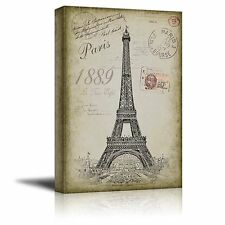 Sketching of the Eifel Tower With a Paris Themed - Canvas Art - 12x18 inches