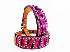 "12"" PINK ZEBRA HAIR ON BLING GEMS WESTERN STYLE LEATHER CANINE DOG COLLAR SMALL"