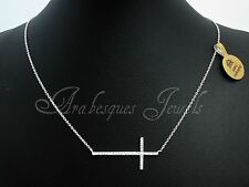 GENUINE STERLING SILVER 925 SIDEWAYS CROSS NECKLACE/CHOKER SWAROVSKI CRYSTAL SET