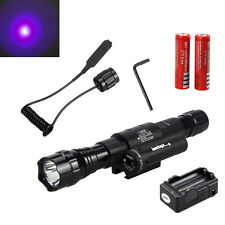 2500LM CREE lila LED Taschenlampe Torch Red Laser Dot Sight Hunting 18650 Akkru