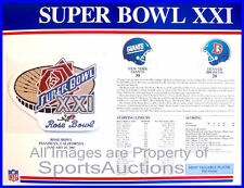 SUPER BOWL 21 Giants / Broncos 1987 Willabee Ward OFFICIAL SB XXI NFL PATCH CARD