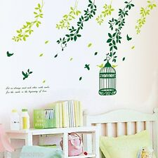 GREEN TREE LEAVES TREE BRANCH WALL ART STICKERS VINYL DECALS HOME DIY DECORATION