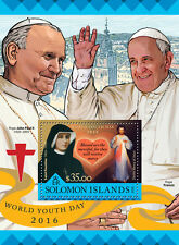 Solomon Islands 2016 MNH World Youth Day 1v S/S Pope John Paul II Francis Stamps