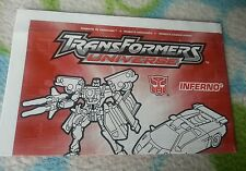 Transformers RID UNIVERSE INFERNO INSTRUCTION BOOKLET