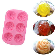 New Silicone Silicon 6 Cavities Rose Soap Molds Cake Chocolate Candy Jelly Mould