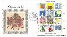 (92487) CLEARANCE GB Guernsey Benham FDC Christmas MS GL10 15 October 1991