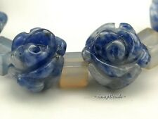 10X7MM SODALITE GEMSTONE BLUE CARVED ROSE FLOWER 10X7MM LOOSE BEADS 5 BEADS