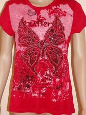 CAROLINE MORGAN Red Butterfly Print Embellished T shirt Top L (12)