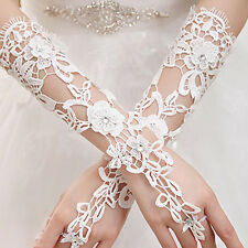 Fingerless Bridal Lace Gloves with Rhinestone for Wedding Party LT