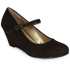 WOMENS LADIES MARY JANE SUEDE LOW HEEL WEDGE CASUAL WORK POSH COURT SHOES SIZE