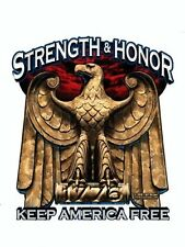 STRENGTH & HONOR KEEP AMERICA FREE - ARMY VINYL STICKER/DECAL Art By 7.62 Design