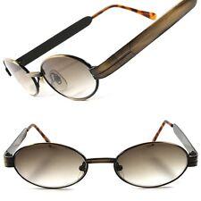 Bronze Vintage Retro Fashion Old Unique 60s 70s Mens Small Metal Oval Sunglasses