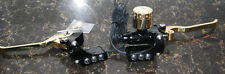 HARLEY HAND CONTROLS BLACK AND BRASS  CABLE CLUTCH HYD BRAKE 3 BUTTON SWITCHES