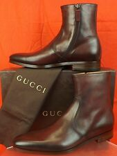 NIB GUCCI CHARDONNAY BETIS GLAMOUR LEATHER INTERLOCKING  ANKLE BOOTS 8 9 #353018