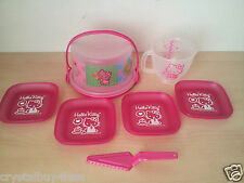 Tupperware  Hello Kitty Mini Toys Set Cake taker Measuring Pitcher Plates New