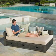 Sunbrella® Daybed Chaise Lounge Outdoor Patio Pool Lounger Cushioned w/ Pillows