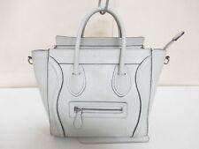 Authentic CELINE Light Gray Luggage Nano Shopper 168243LUG.01LU Tote Bag