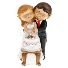 Funny Cartoon Wedding Party Cake Topper Bride and Groom Cut Cake Figurine