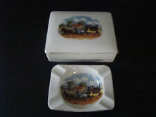 "Vintage EMPIRE ENGLAND GOO ""DICKEN'S DAY"" CIGARETTE TRINKET BOX + ASHTRAY"
