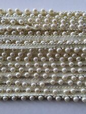 ATTRACTIVE INDIAN CREAM PEARL BEADS on CREAM LACE TRIM  - SOLD by YARD