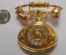 Vintage Gold-tone Crystal Rhinestone Ornate Telephone Brooch Pin with Rose Motif
