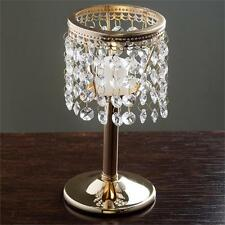 """GOLD METAL 7.5"""" tall Faux Crystal Beaded CANDLE HOLDER Centerpiece Wedding SALE"""