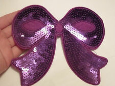 large purple bow sequin patches applique patch motif iron on sew on  UK