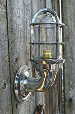 SUPERB RETRO POLISHED ALUMINIUM SHIPS BULKHEAD CAGE LIGHT WALL LIGHT SHIP LAMP B