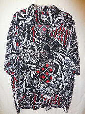 Jams World Mens Size X-Large Black Red Floral Print Hawaiian Aloha Shirt Vintage