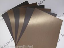 Bronze Pearlescent (Linen) Embossed Paper 110gsm (Brown Reverse) 15 x 1-Sided A4