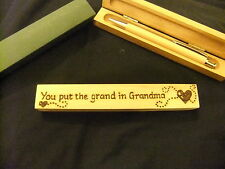 Personalised Wooden ball point pen & wooden box -Grandma gift-hand designed