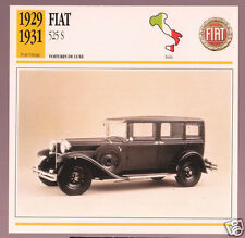 1929 1930 1931 Fiat 525 S Car Photo Spec Sheet Info Stat French Atlas Card