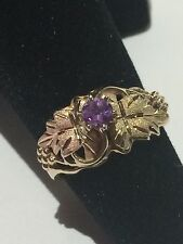 Ring 10k Gold Size 6 Yellow Amethyst Black Hills Ladies Coleman Leaves Leaf Vtg