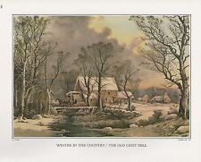 """1972 Vintage Currier & Ives """"WINTER IN THE COUNTRY"""" MILL Color Print Lithograph"""